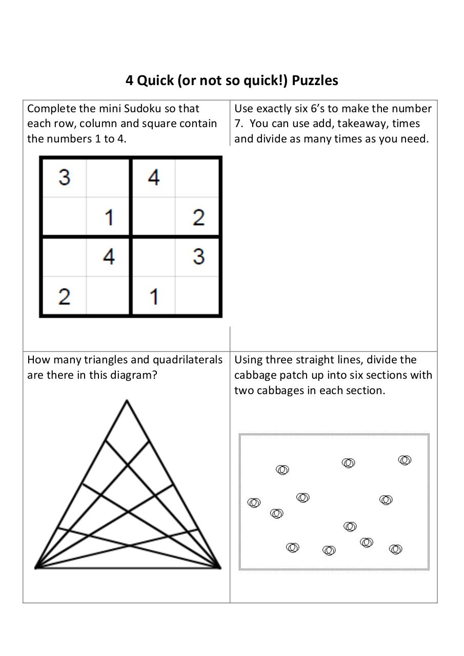 Document preview 4 Quick Puzzles 2.pdf - page 1/2