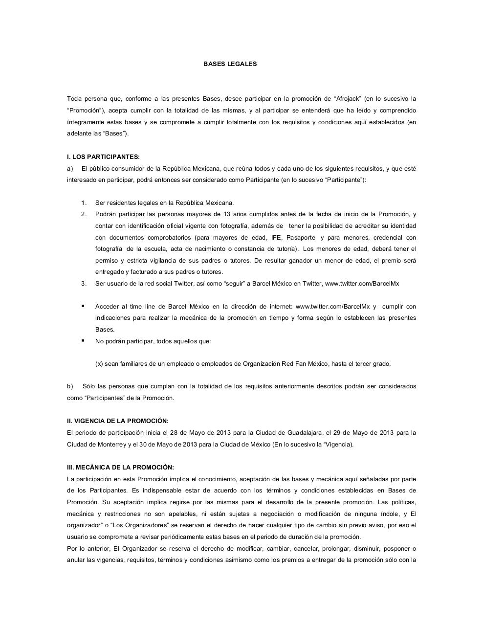 Document preview Formato Bases Legales y Aviso Privacidad2013 AFROJACK.pdf - page 1/5