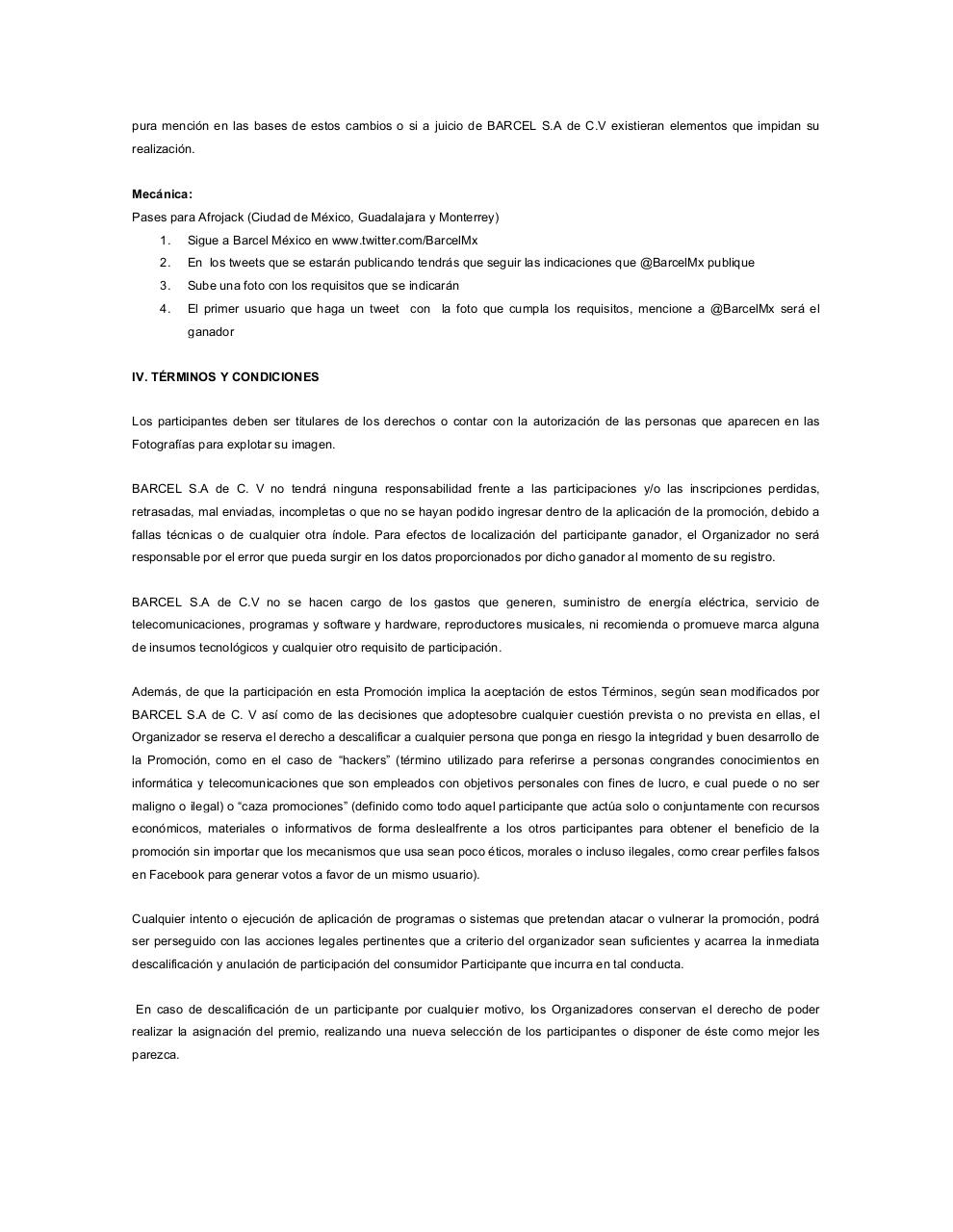 Document preview Formato Bases Legales y Aviso Privacidad2013 AFROJACK.pdf - page 2/5