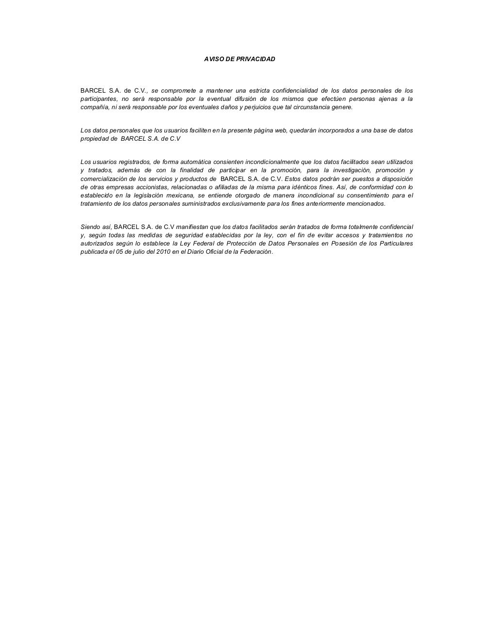 Document preview Formato Bases Legales y Aviso Privacidad2013 AFROJACK.pdf - page 5/5