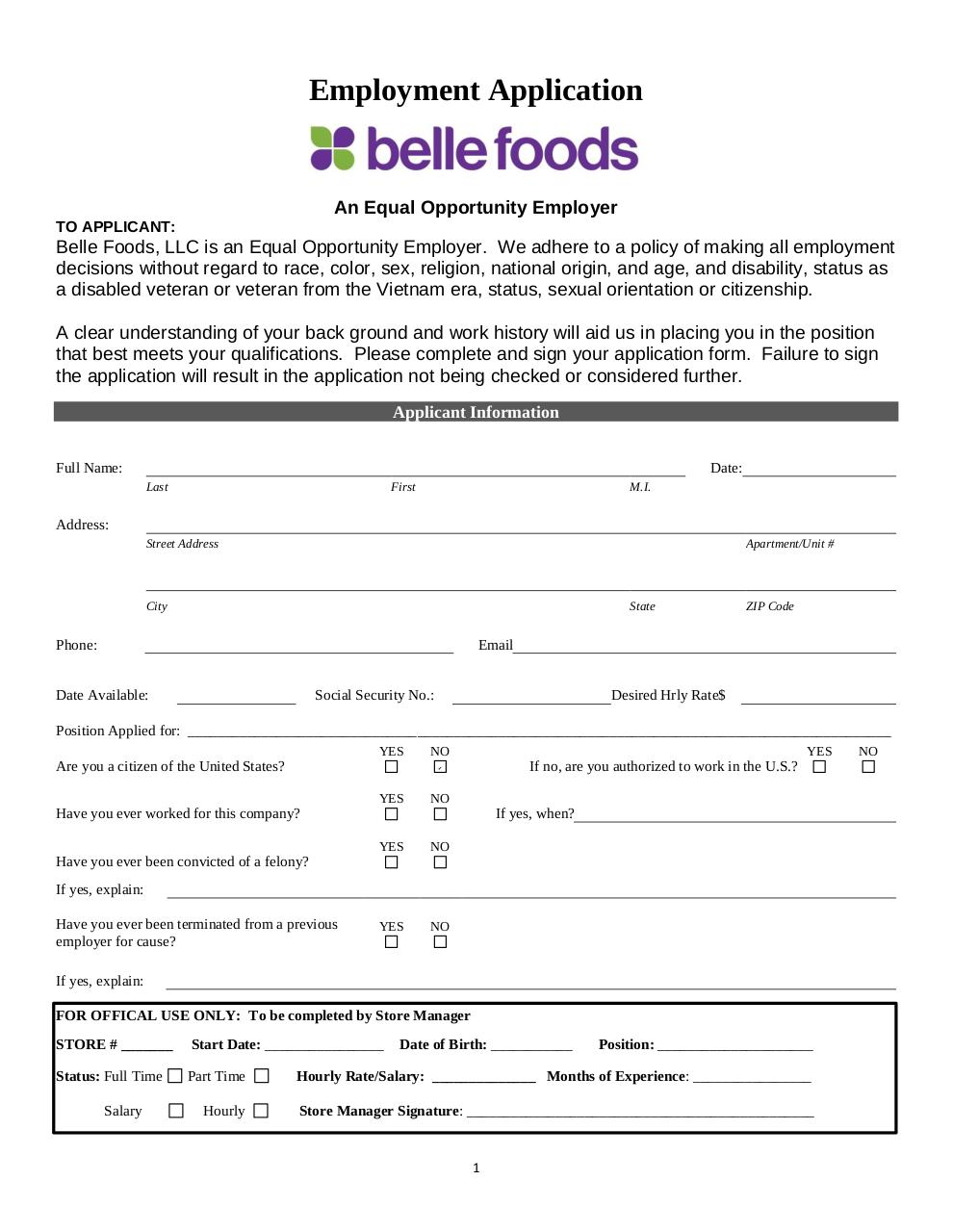Document preview Belle_Foods_Employment_Application.pdf - page 1/4