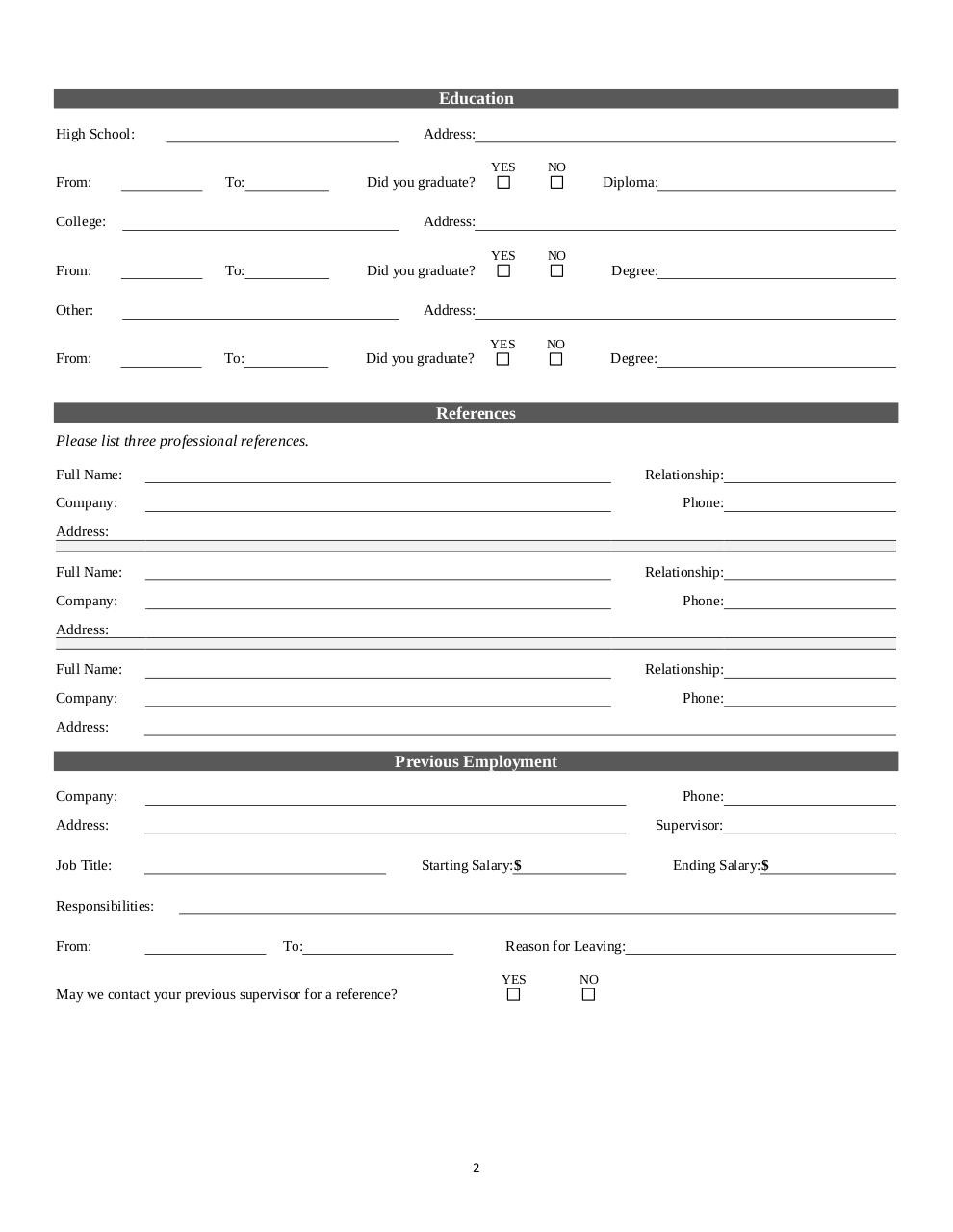 Document preview Belle_Foods_Employment_Application.pdf - page 2/4