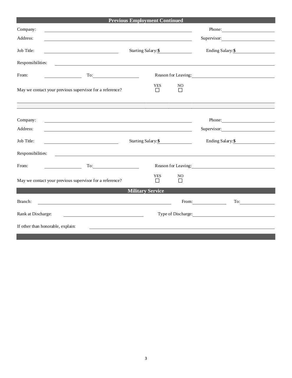 Document preview Belle_Foods_Employment_Application.pdf - page 3/4