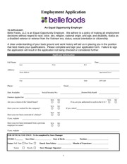 belle foods employment application
