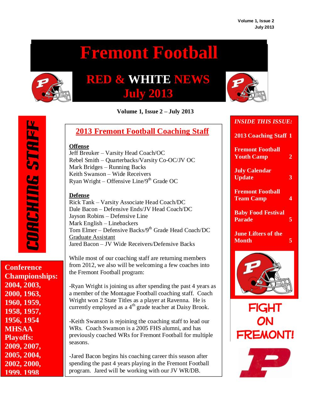 Document preview 2013 RED & WHITE NEWS - Volume 1, Issue 2 - July 2013[1].pdf - page 1/5