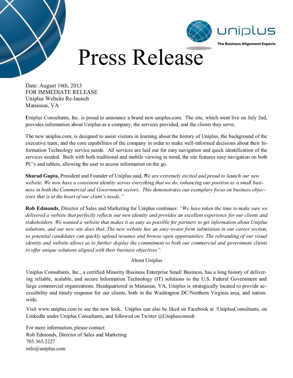 Website press release uniplus pdf pdf archive for Template of a press release