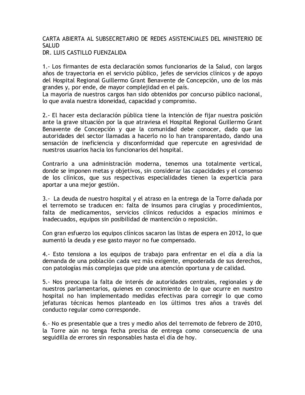Document preview Carta Jefes de Servicio Hospital Regional.pdf - page 1/2