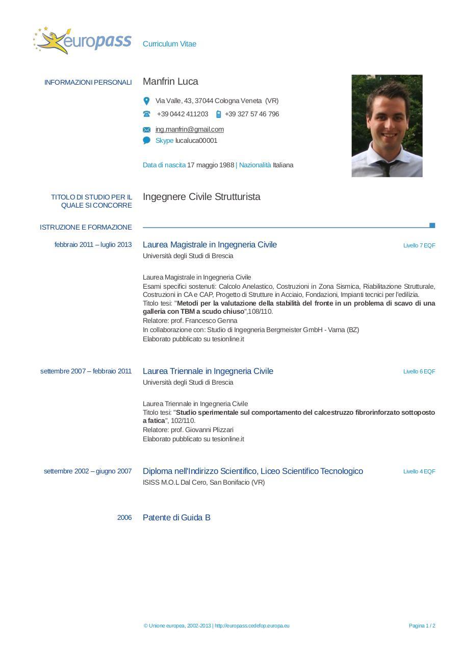 Europass CV Manfrin ITc By Luca Manfrin CV Luca