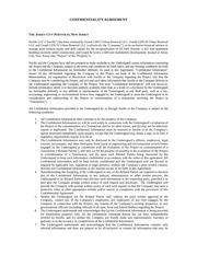 jersey city portfolio confidentiality agreement