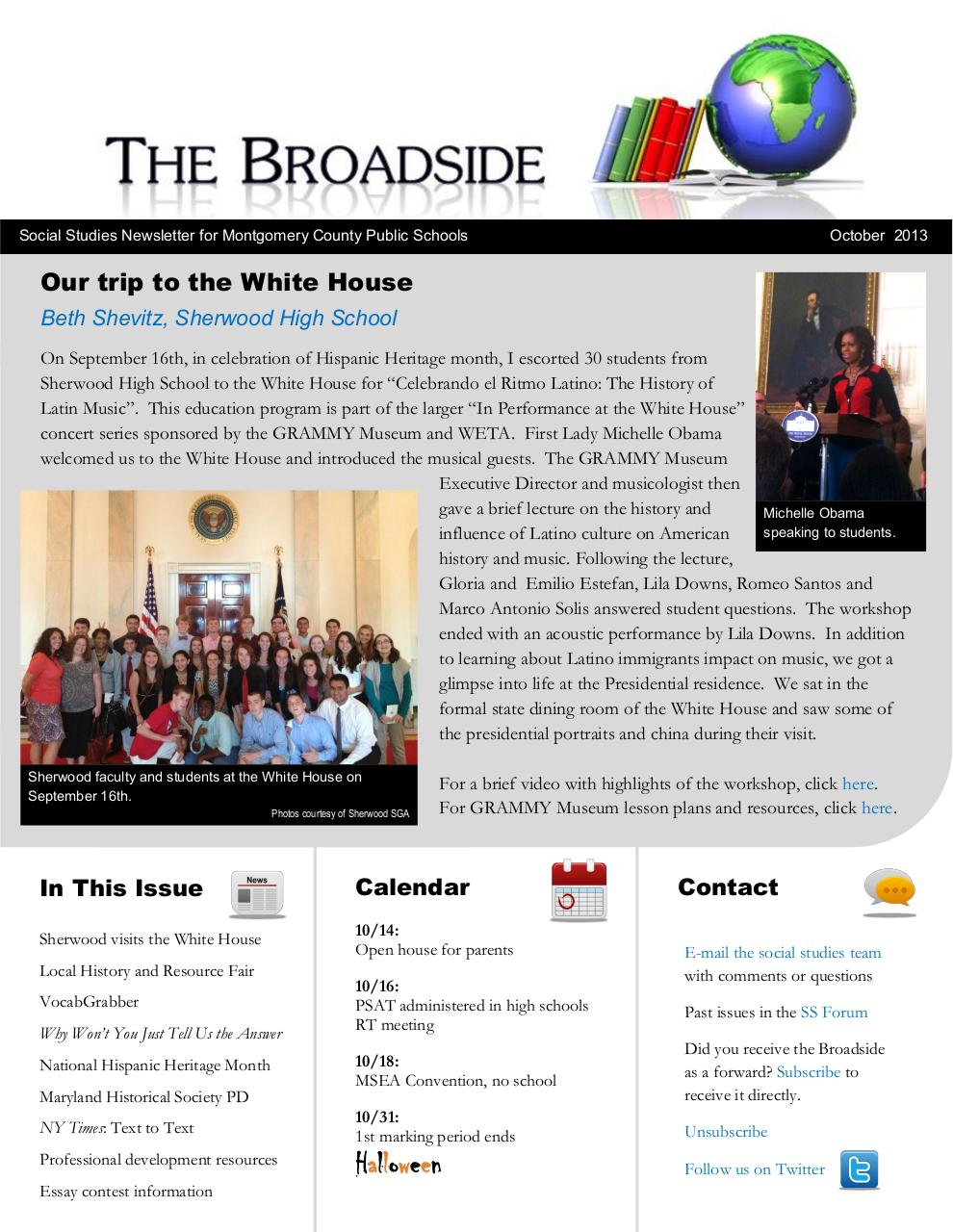 October 2013 Social Studies Broadside.pdf - page 1/15