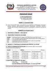 program cupa romaniei la karting
