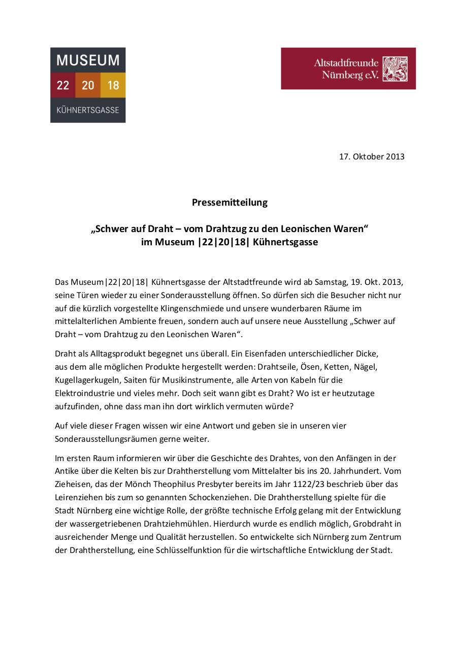 Document preview 2013-10-17 PM Drahtausstellung.pdf - page 1/2