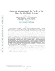 statistical mechanics and many b0dy models