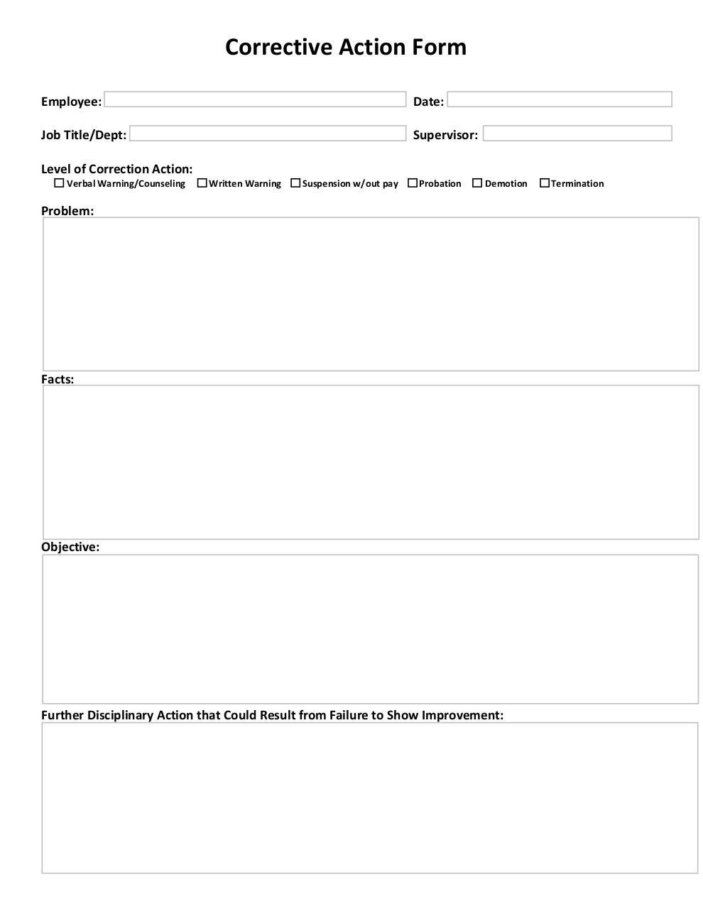 Microsoft Word - Corrective Action Form.doc (Corrective Action ...