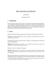 reacher settler theory