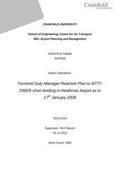 tdm reaction plan to b777 crash 17jan2008