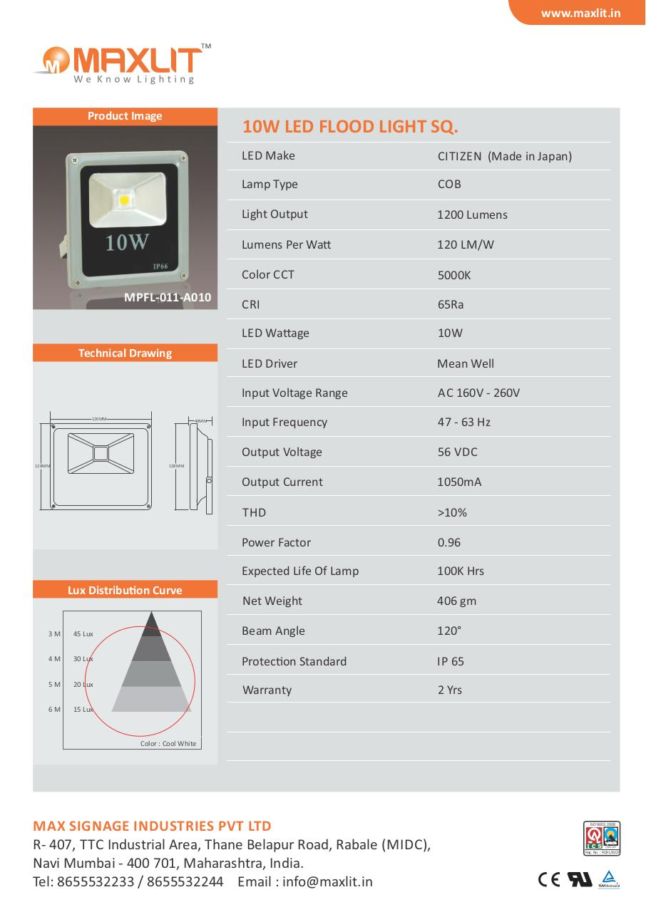 Document preview 10W LED Flood Light Square Technical Data Sheet.pdf - page 1/1