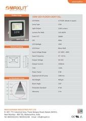 10w led flood light square technical data sheet