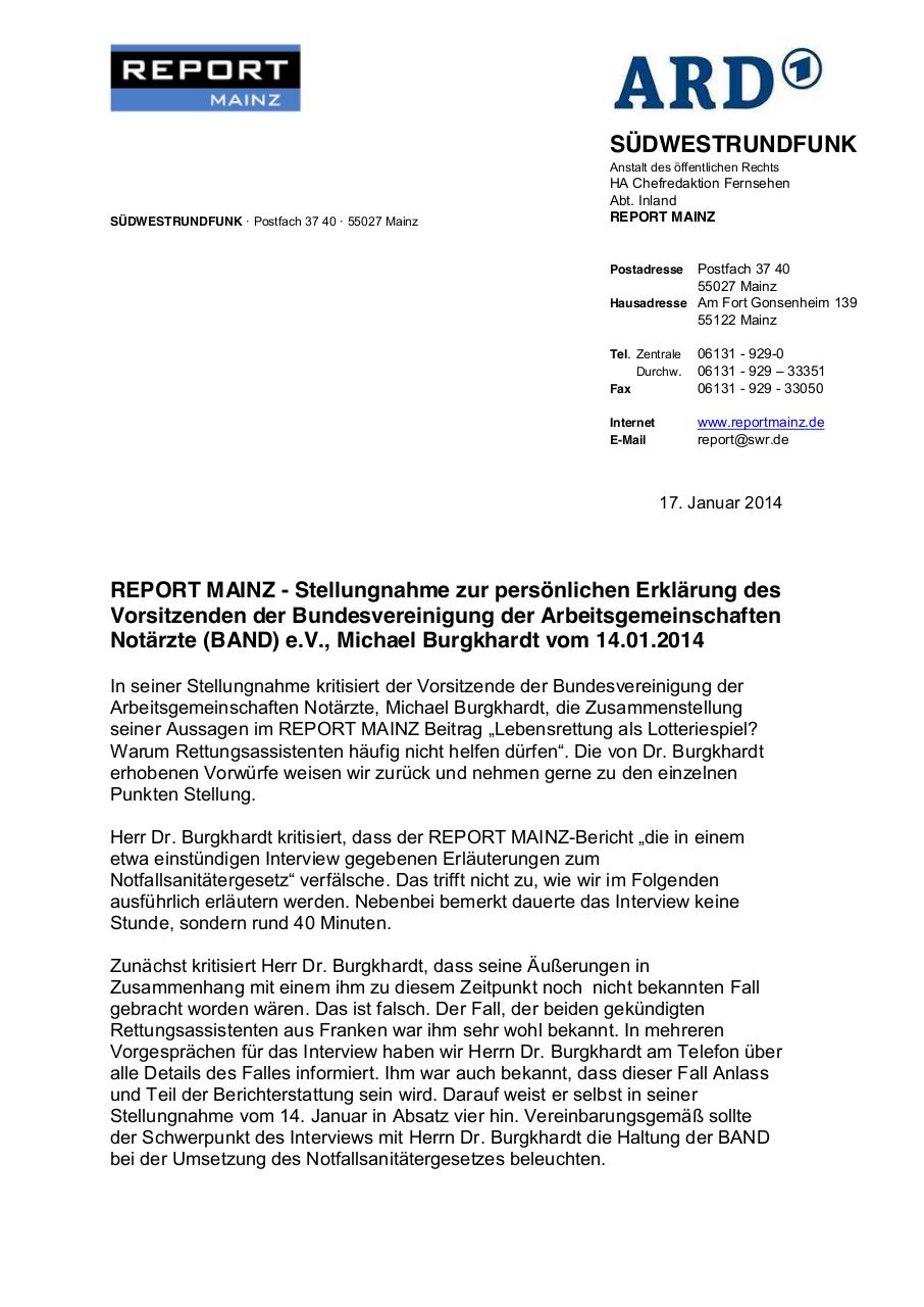 Document preview Stellungnahme REPORT MAINZ.pdf - page 1/3