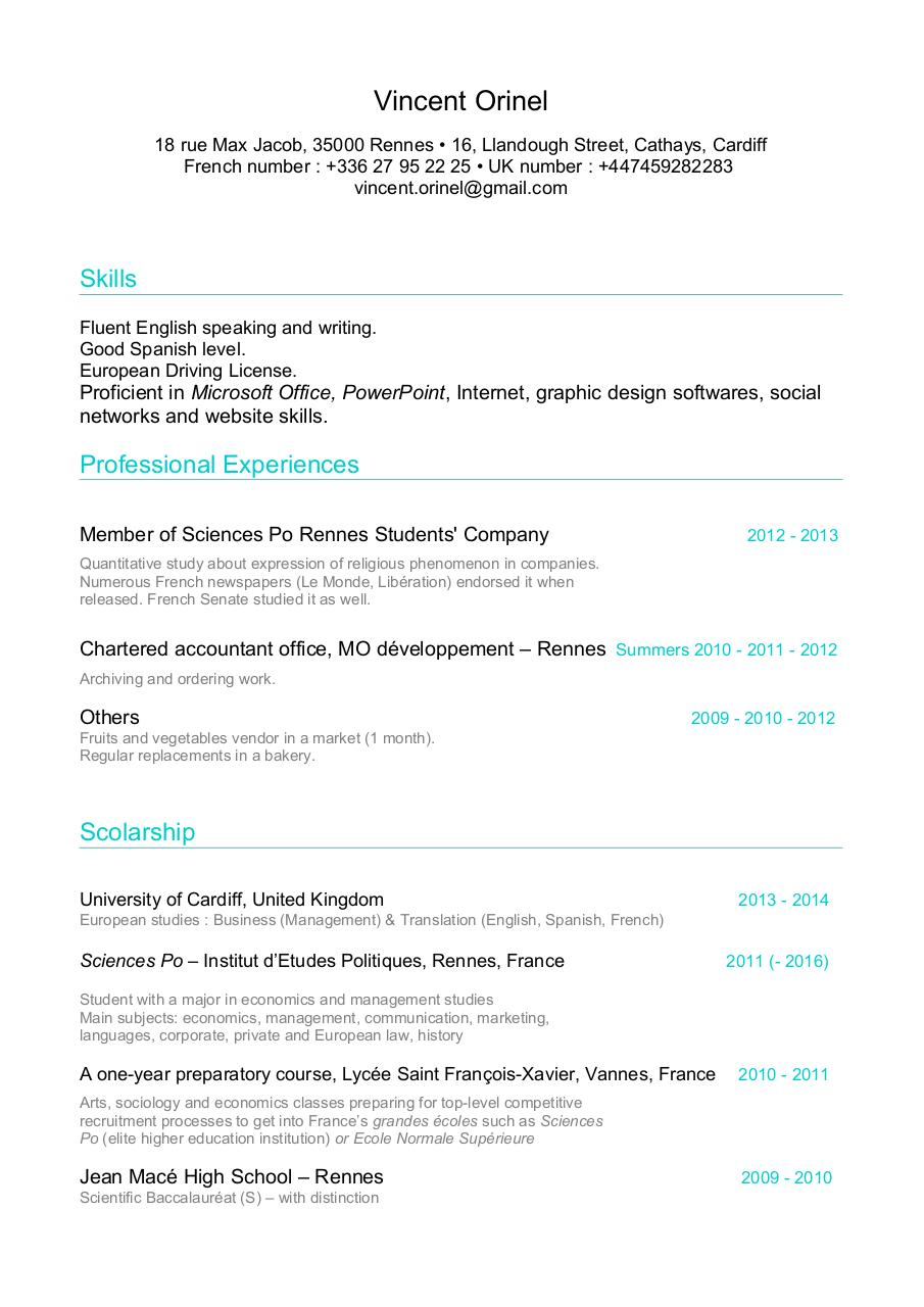cv vincent orinel resume pdf pdf archive scolarship university of cardiff united kingdom 2013 2014 european studies business management translation english spanish french sciences po