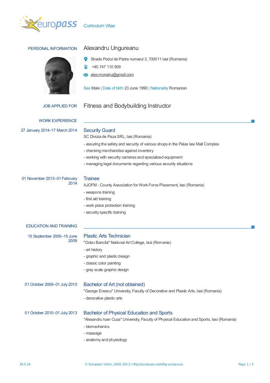 europass cv 20140318 alexandru en - europass cv - ungureanu alexandru - english pdf