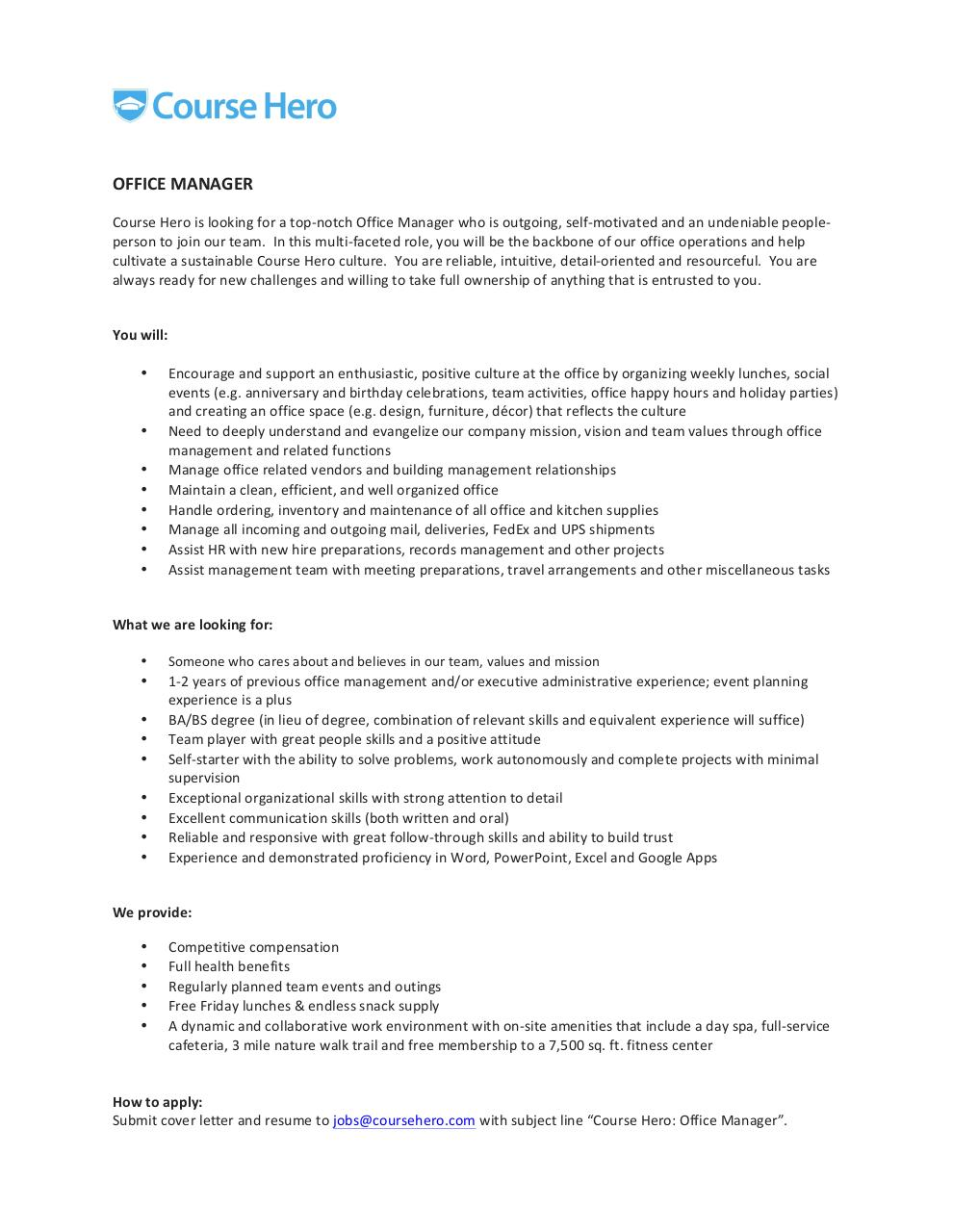 microsoft word office manager job description docx work autonomously and complete projects minimal supervision exceptional organizational skills strong attention to detail excellent