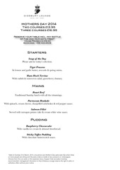 didsbury lounge mothers day 2014 menu
