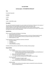 scl psychometric specialist job description