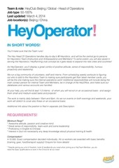 heyrobics head of operations position available now ad