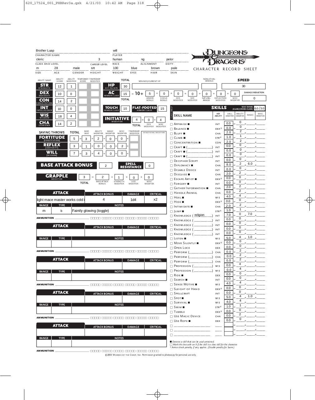 3 5 D D Character Sheet - Www imagez co