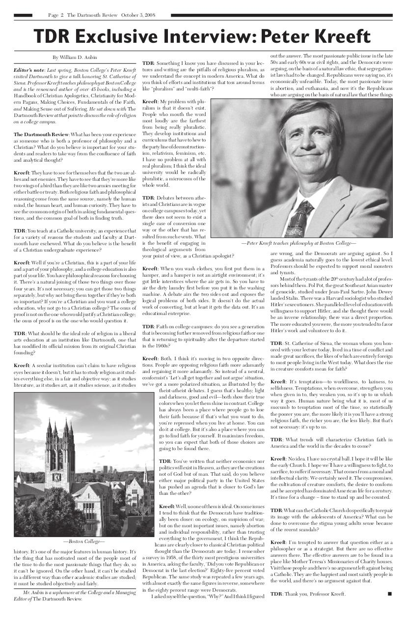 The Dartmouth Review 10.3.2008 Volume 28, Issue 2.pdf - page 2/12