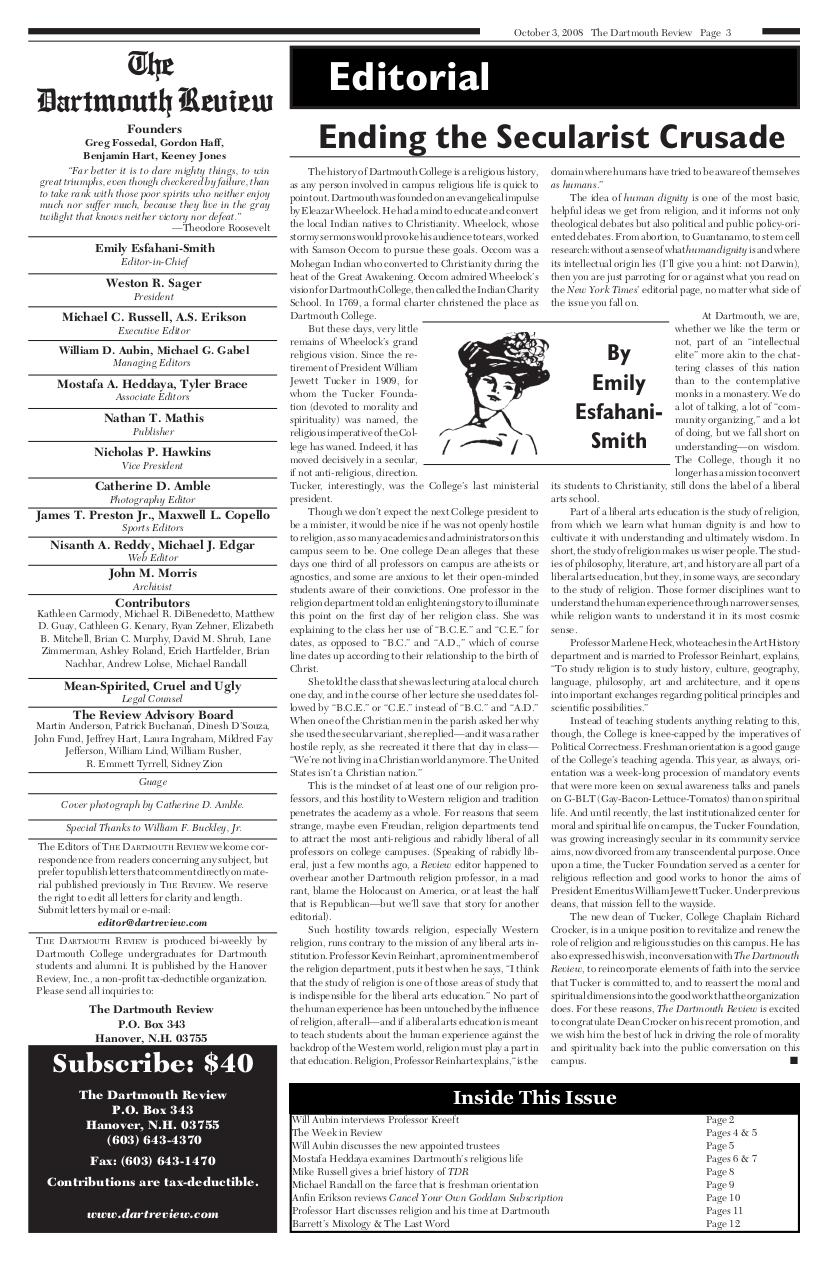 The Dartmouth Review 10.3.2008 Volume 28, Issue 2.pdf - page 3/12