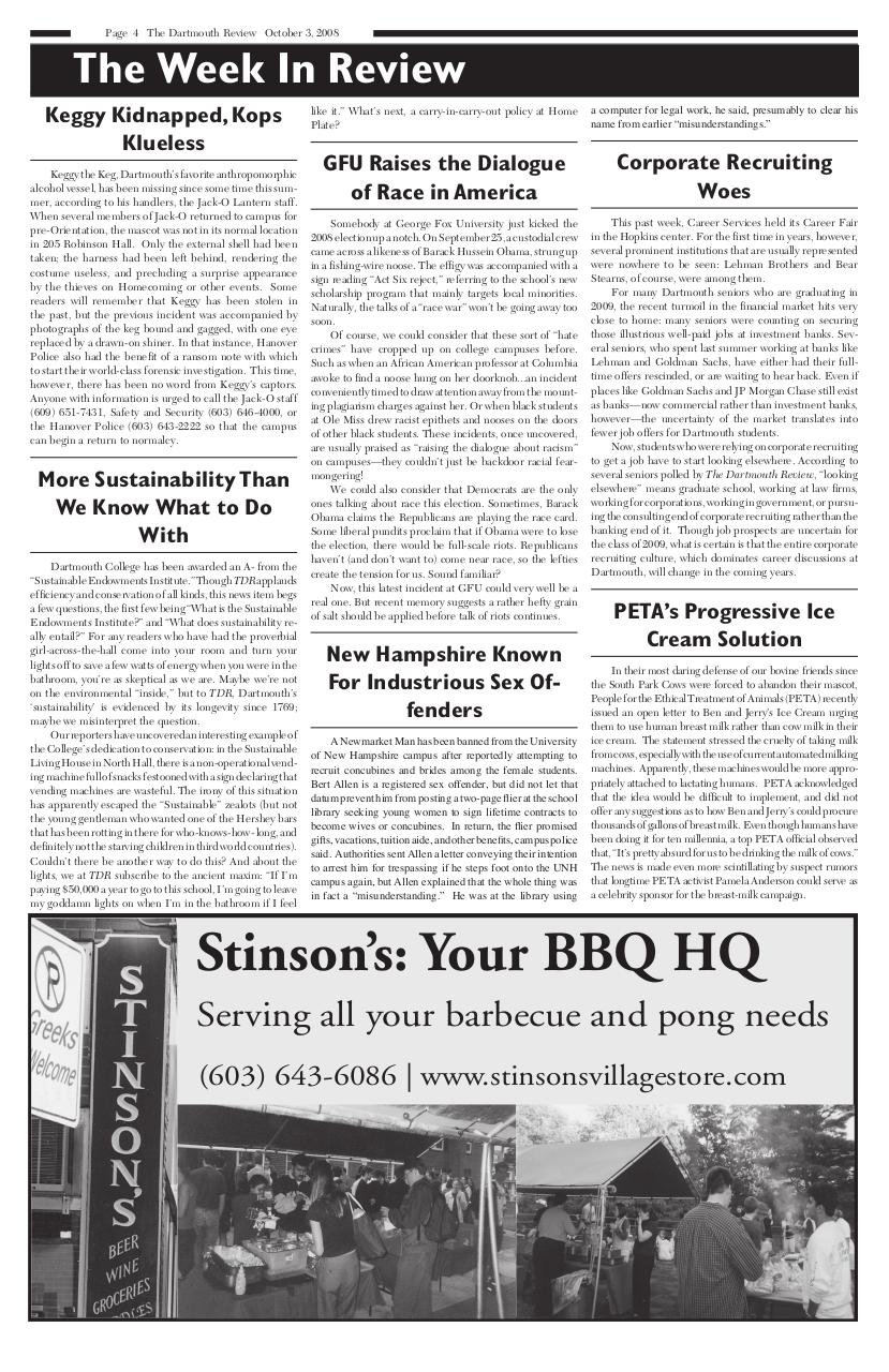 The Dartmouth Review 10.3.2008 Volume 28, Issue 2.pdf - page 4/12