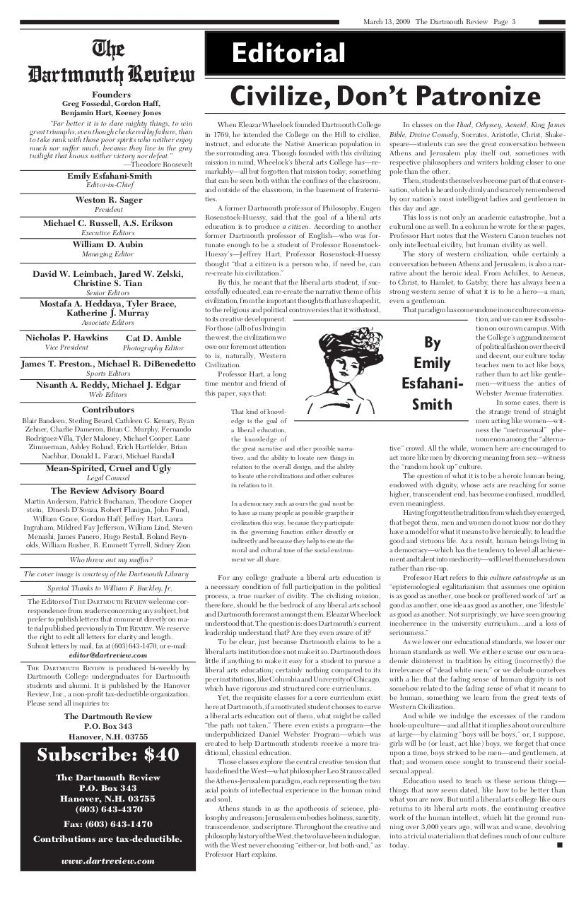 The Dartmouth Review 3.13.2009 Volume 28, Issue 14.pdf - page 3/8