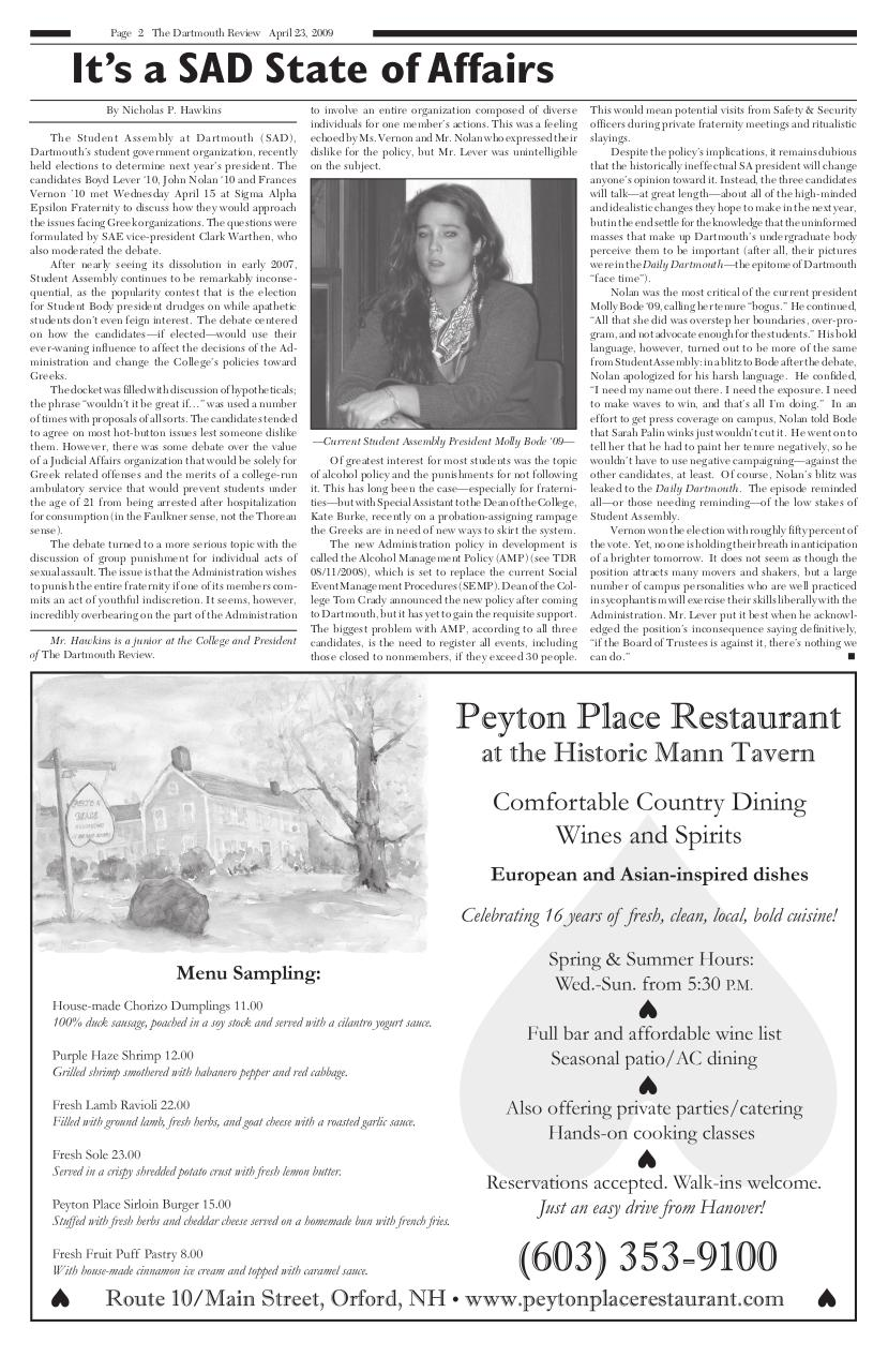 The Dartmouth Review 4.23.2009 Volume 28, Issue 16.pdf - page 2/16
