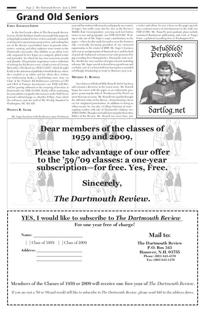 The Dartmouth Review 6.2.2009 Volume 28, Issue 19.pdf - page 2/20