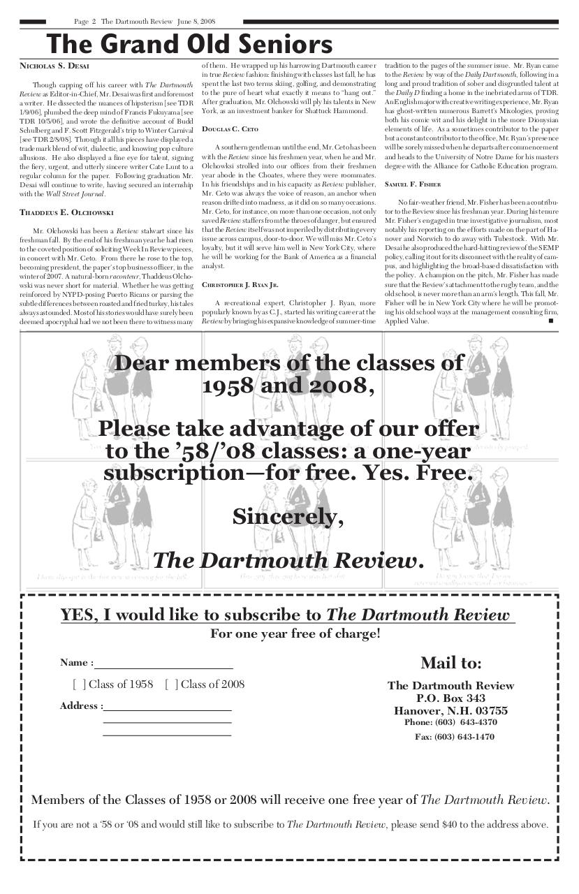 The Dartmouth Review 6.8.2008 Volume 28, Issue 13.pdf - page 2/20
