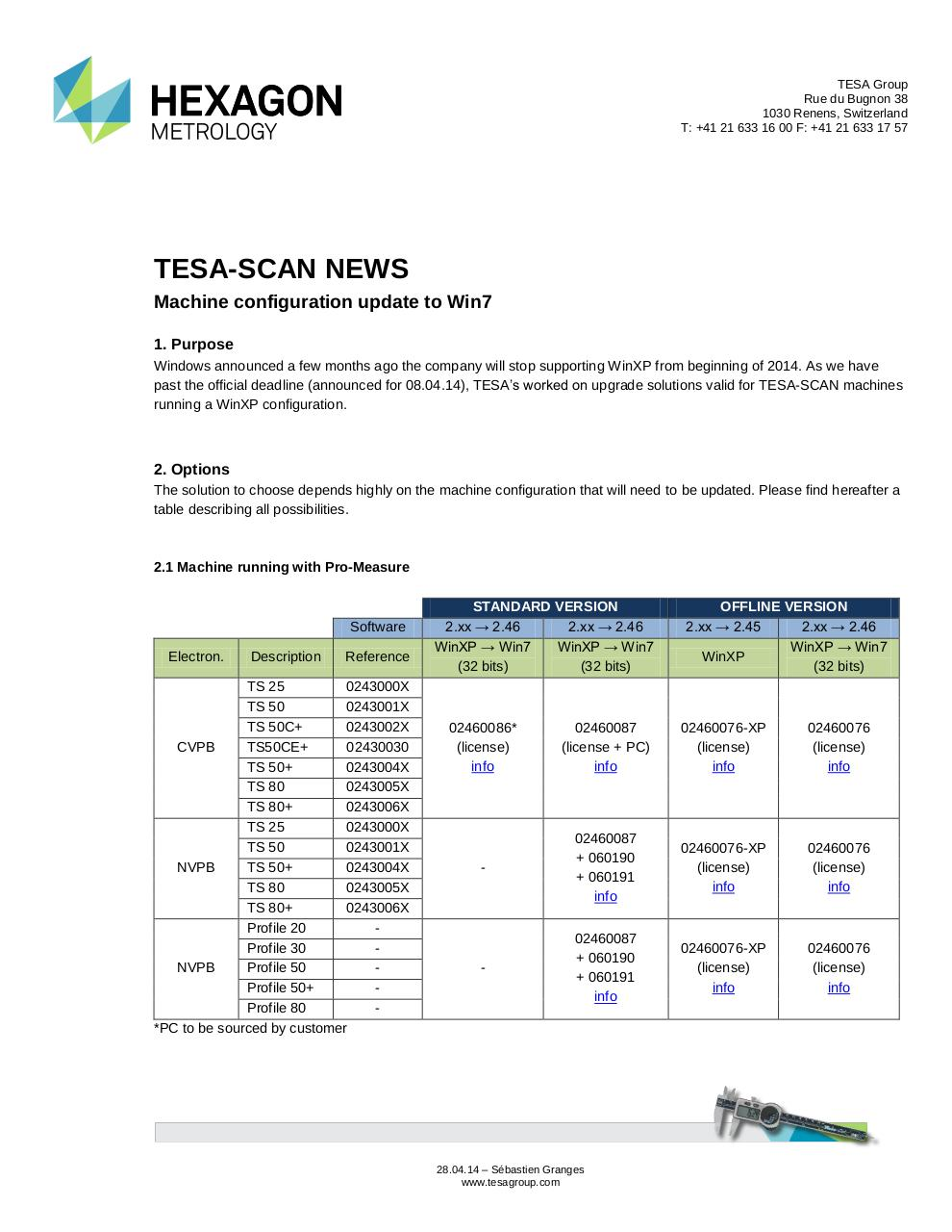 Document preview TESA-SCAN News, 28.04.14, configuration update to Win7, EN.pdf - page 1/3