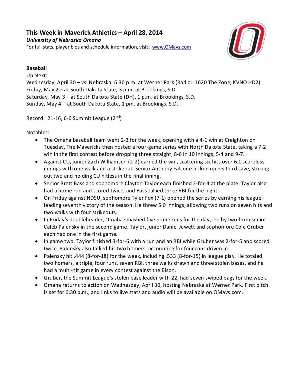 This Week in Maverick Athletics 4-28-14.pdf - page 1/5