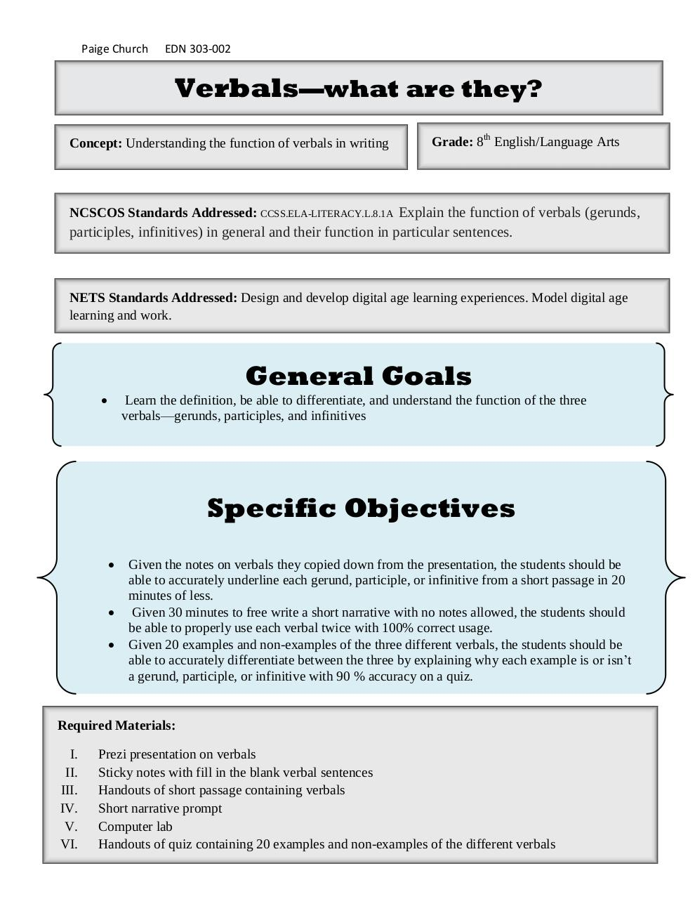 Lesson Plans on Verbals.pdf - page 1/6