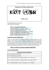 dossier de reconduction kot onu 2009 2010