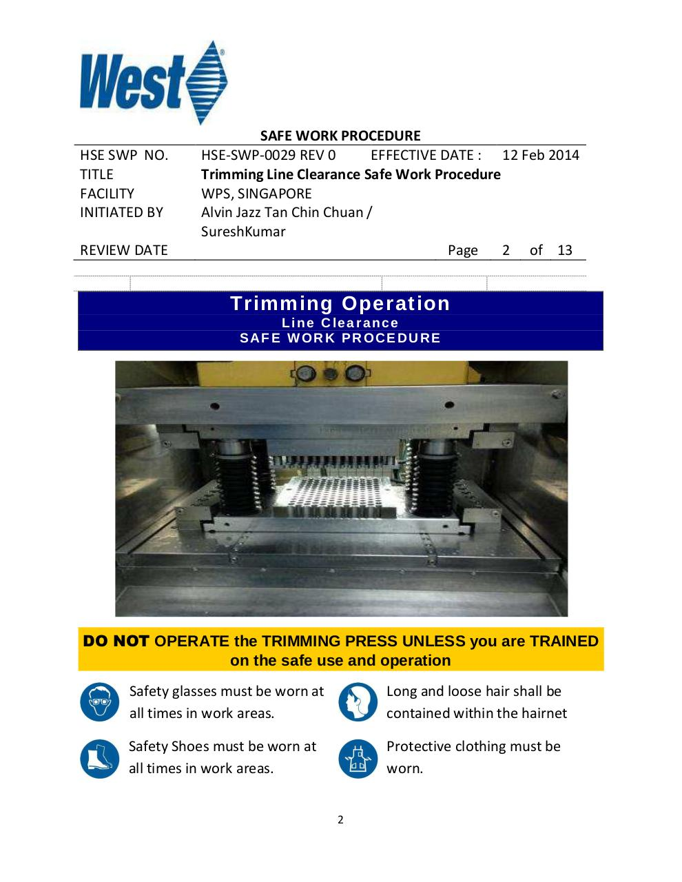 Trimming Operation Line Clearance Safe Work Procedure Rev 1.pdf - page 2/13