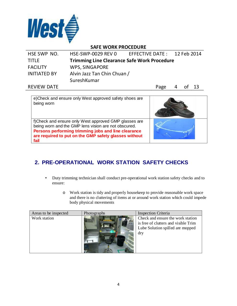 Trimming Operation Line Clearance Safe Work Procedure Rev 1.pdf - page 4/13