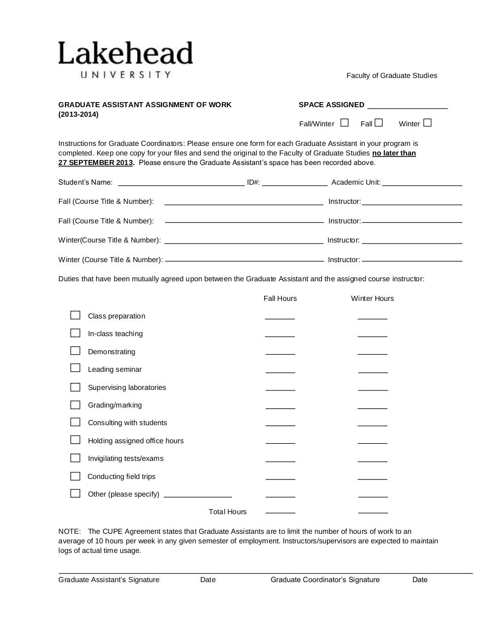 Document preview GA Assignment of Work form 2013-14.pdf - page 1/1