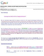 gmail ercica 2014 paper acceptance notification