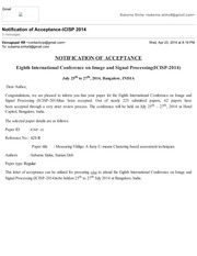 gmail notification of acceptance icisp 2014