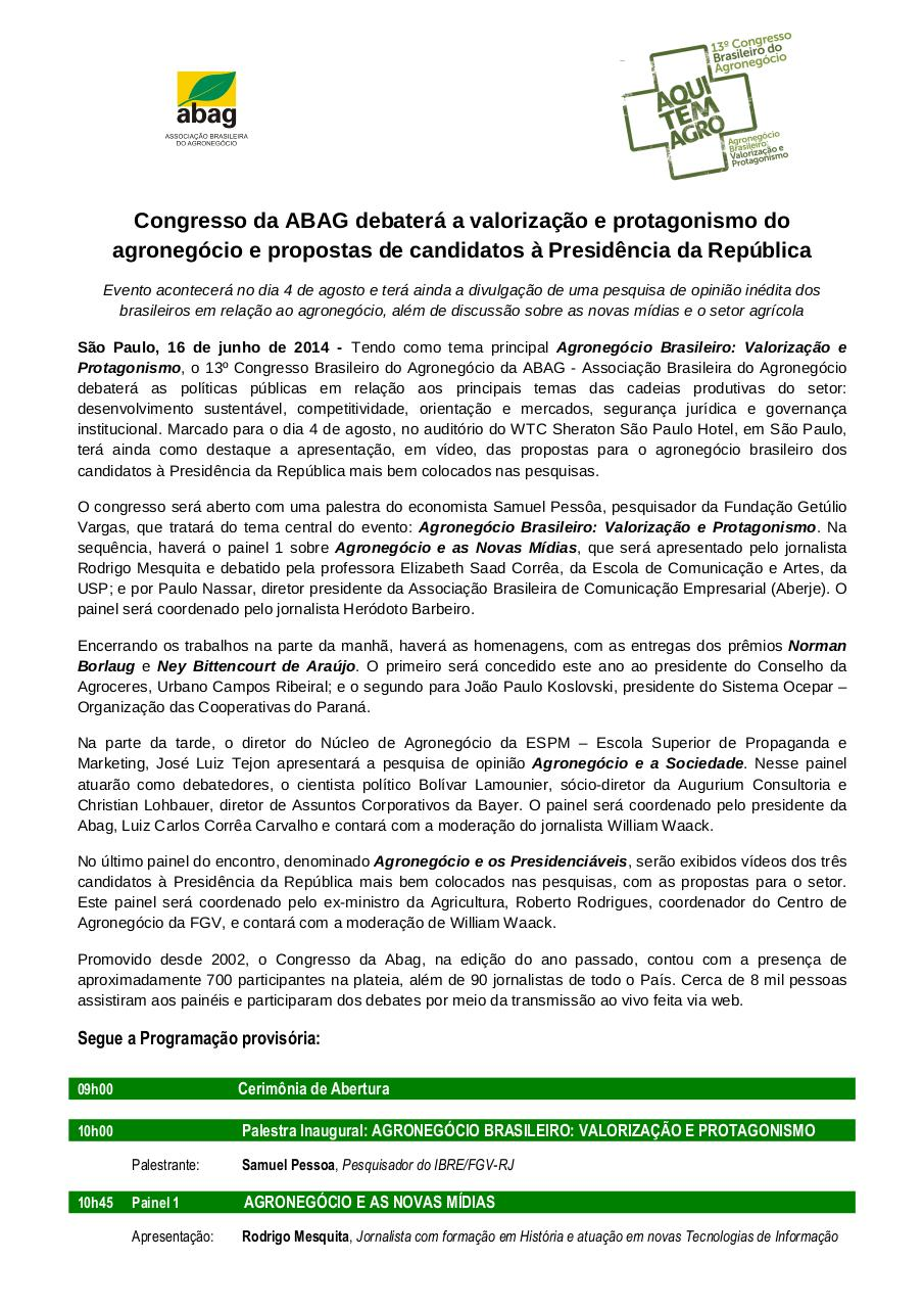AquiTemAgro_Release_2014.06.17 - Congresso Abag 2014.pdf - page 1/2