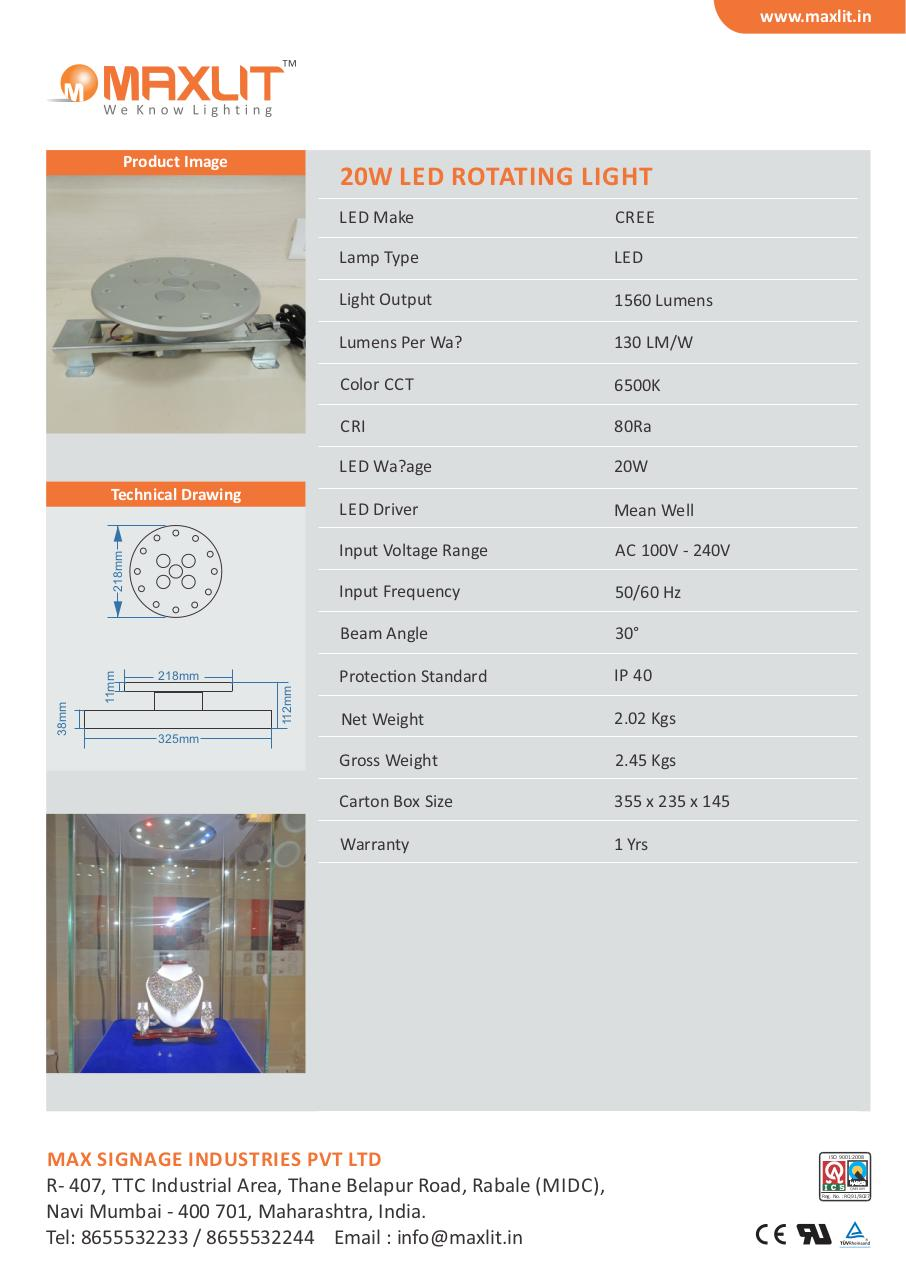 Document preview 20W LED ROTATING LIGHT.pdf - page 1/1