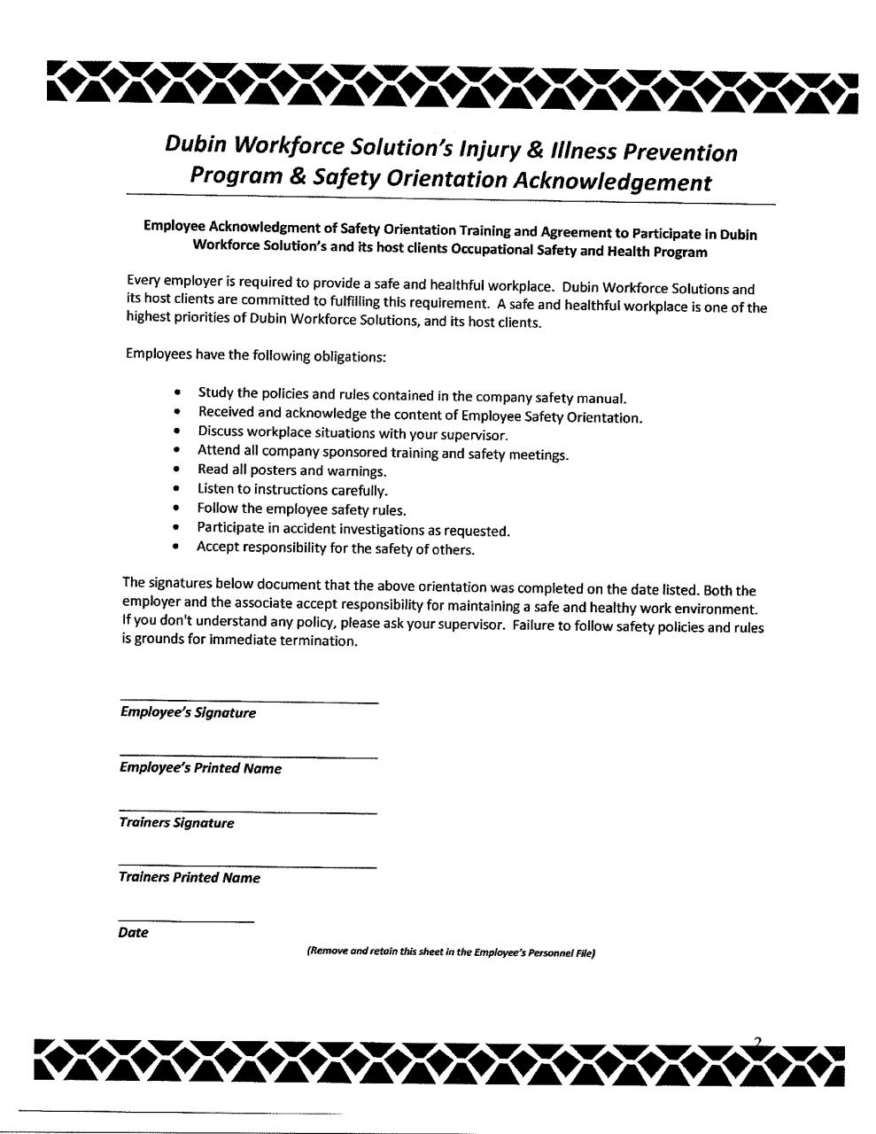 workplace safety program template - dws safety acknowledgement form pdf pdf archive