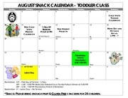 toddler snack calendar august